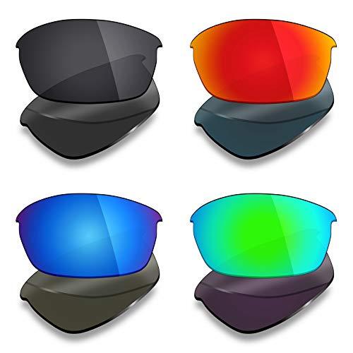 Mryok Lot de 4 paires de verres polarisés de rechange pour lunettes de soleil Oakley Flak – Noir furtif / Rouge feu/Bleu glace/Vert émeraude