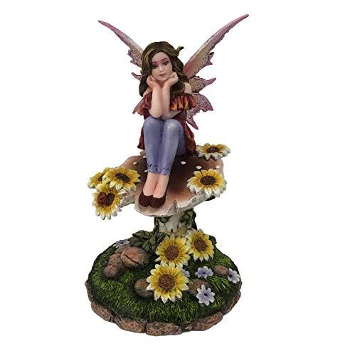 Les Alpes Orig. Fata dei Fiori Daisy Seduta su Girasole, 17,5cm, Orig Fairy Land Collection - Figura Statuina Dipinta a Mano - 042 767