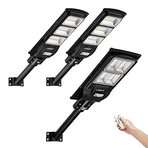 Street Light Solar Powered Combo,2 Pack 90 watts +1 Pack120 watts Solar Street Lights Outdoor