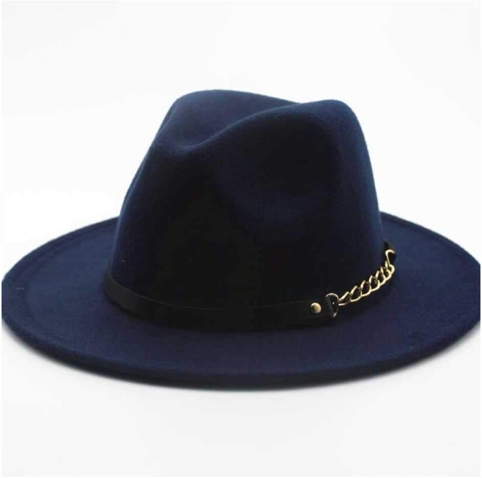 No-branded Women's Hat 2019 Top Hat Jazz Fedora Hat Wool Felt Leather Rope Metal Chain Panama Hat Retro Sombrero PXTTLKJ (Color : Navy Blue, Size : 56-58cm)