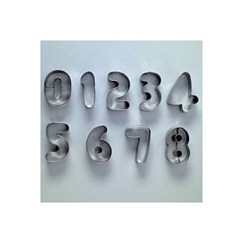Efco Cookie Nombre emporte-pièces, en métal, Argent, 10 cm/3,5–4 cm, Lot de 10