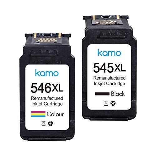 Kamo 545XL 546XL Cartucho Multipack Compatible con Canon PG-545 CL-546 XL Cartuchos de tinta; Canon Pixma MG2550S MG2550 MG3050 TR4550 TR4551 TS205 TS3150 TS3151 TS3351 TS3350 MX495 (1 Negro, 1 Color)