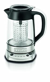 KRUPS FL700D51 Electric Glass Kettle with Incorporated Tea Infuser and Temperature Settings 1.2-Liter Silver