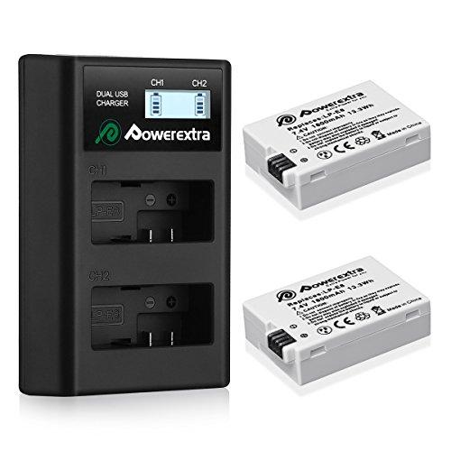 Powerextra Lot de 2 Batterie de Rechange pour LP-E8 1800mHA et Chargeur à Batteries avec ecran LCD pour LP E8 Canon Rebel T3i T2i T4i T5i EOS 600D 550D 650D 700D Kiss X5 X4 Kiss X6 LC-E8E