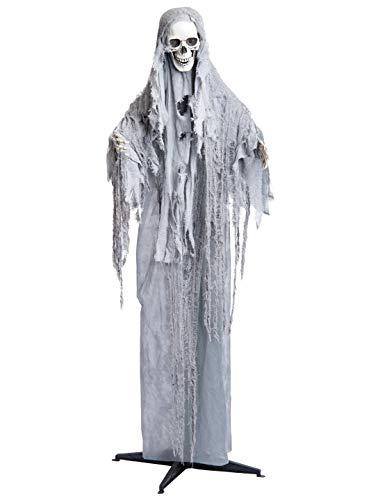 Deiters Halloween Deko Stehender Sensenmann Geist weiß 180cm, leuchtende Augen, Animation & Geräusche Party Dekoration