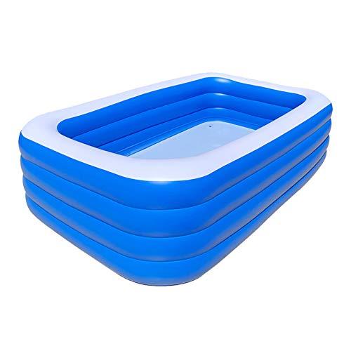 Dinggaoyikang Piscina hinchable rectangular para niños, piscina familiar grande, piscina familiar, piscina inflable, bañera para adultos engrosada, plegable, azul (150 x 105 x 72 cm)