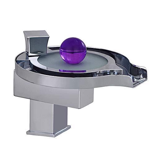 JRUIA LED 3 Farbewechsel Wasserhahn Design Bad Wasserfall Waschtischarmatur Einhebel Mischbatterie Waschbecken Armatur Waschtischbatterie für Badezimmer aus Messing Chrom