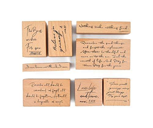 MissOrange『木製ゴム印セット』英語 クリエイティブスタンプセット クラフトカード スクラップブッキング 手帳用 8個セットM-12