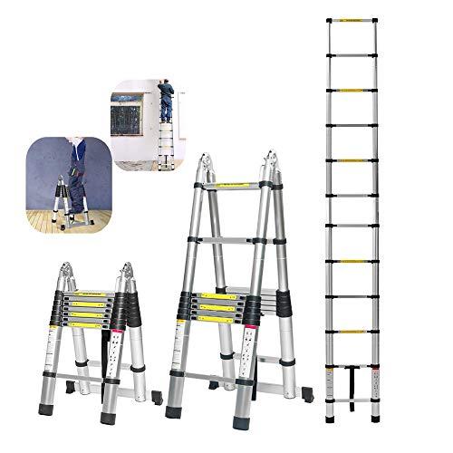 NOBGP 16.5 FT Telescopische Verlengladder, Draagbare Lichtgewicht MultiPurpose Aluminium Vouwbare Telescopische Ladder met Stabilizer Bar voor Bedrijfshuis, 330lb Capaciteit
