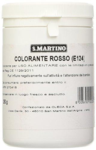 S.MARTINO - Colorante per Uso Alimentare Colore Rosso, 1 Barattolo da 250 gr, ideale per il Settore del Catering e della Grande Ristorazione, Made in Italy