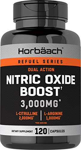 Nitric Oxide Booster 3000mg | 120 Capsules | Nitric Oxide Pills with L Arginine and L Citrulline for Men and Women| Non-GMO, Gluten Free Pre Workout Supplement | by Horbaach