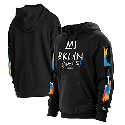 2021 New Temporada Brooklyn Chándal con Capucha Sudaderas con Capucha Sudaderas para Hombre Sudadera de la Moda, Sports Jersey Sportswear (S-2XL) Black-L