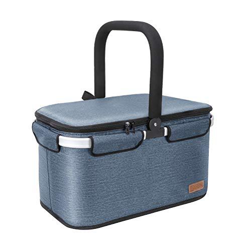 Liqing 40L Kühltasche Picknicktasche Einkaufskorb Große isolierte Kühlkorb Lunchtasche Thermo Tasche für Büro Camping Picknick Reisen (Blau)