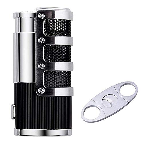 BS Cigar Cutter and Lighter Set, Cigar Punch Lighter Triple Jet Flame Butane Cigarette Torch Lighter (Black)