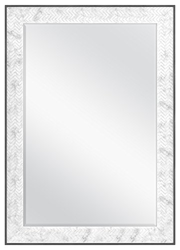 MCS 24x36 Inch Chevron, 30x42 Overall Size, Marble Mirror, 30 x 42 -