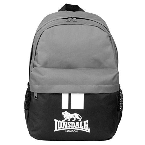 Lonsdale Unisex Zaino Tessile Chiusura con Zip Tasche Nero/Carbone Taglia unica