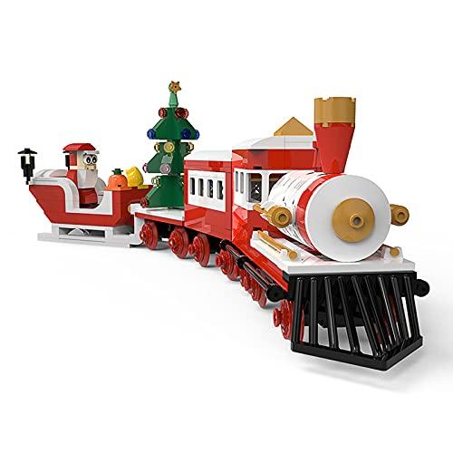 WANZPITS Christmas Steam Train Ride Carriajes adicionales Bloques de construcción, Santa Claus y Coche de Trineo de Regalo en Navidad Eve Age 6+ Niños Conjunto Impresionante,(500 Pieces)