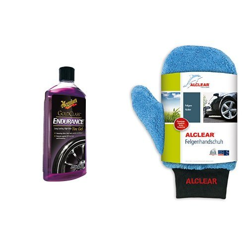 Meguiar's Endurance High Gloss Tyre Protection Gel und ALCLEAR Felgenhandschuh