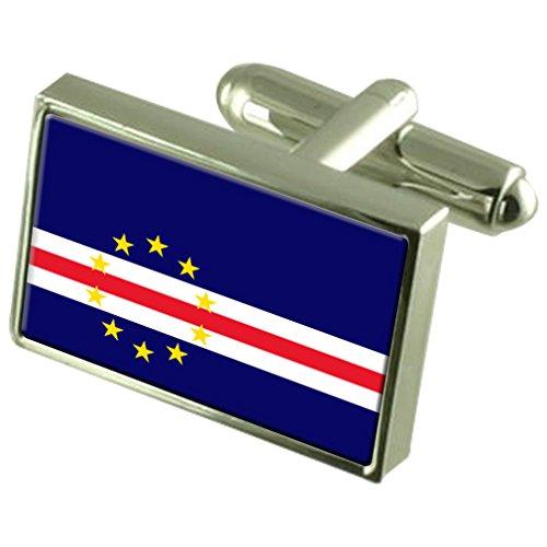 Select Gifts Kap Verde Flagge Sterling Silber Manschettenknöpfe im Feld Persönliche Gravur