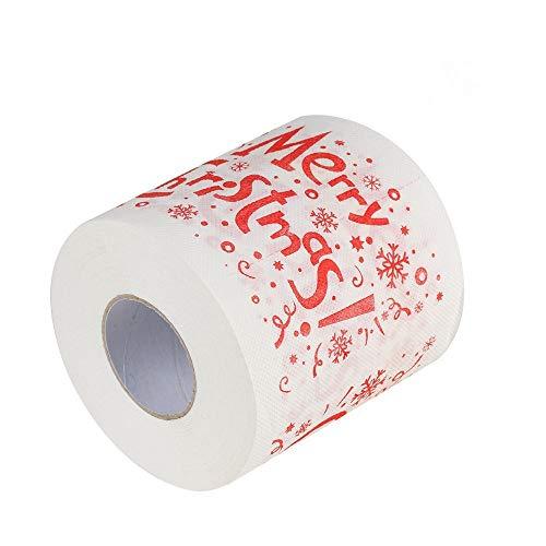 2 Piezas de Papel higiénico de baño de Papá Noel para el hogar, Suministros de Navidad, Rollo de Tejido de...