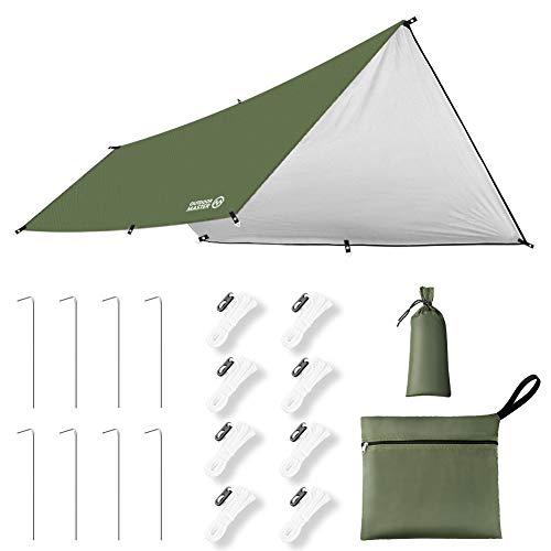OUTDOORMASTER防水タープ テント キャンプ タープ 日除け 遮熱 遮光 軽量 UPF50+ 紫外線99.9%カット 3000mm耐水圧 306D高密度生地 8つペグ付 8つテントロープ付 防水収納ケース付 UVカット 運動会 ピクニック アウトドア 一年保証