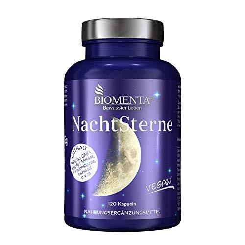 BIOMENTA Nachtsterne - mit Baldrian, Hopfen, GABA, Melisse, Passionsblume, Lavendel, Magnesium, Vitamin C, B-Vitaminen - 120 vegane Baldrian Kapseln