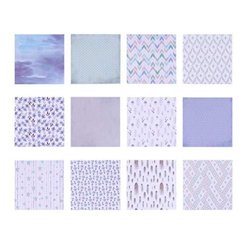HEALLILY 24 hojas de papel para álbum de recortes, diseño de patrón morado, papel decorativo de una sola cara, papel de cartulina de papel para manualidades y álbumes de recortes