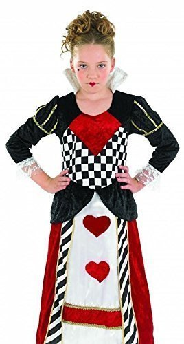 Girls Long Queen of Hearts Alice in Wonderland Fairy Tale Book Day Week Halloween Fancy Dress Costume Outfit 4-12 Years (8-10 Years) Black-red