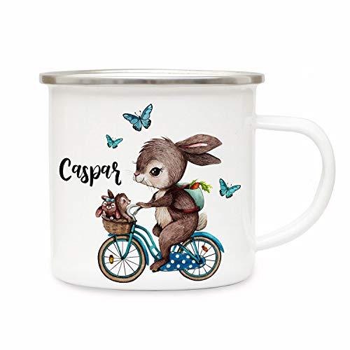ilka parey wandtattoo-welt Emaillebecher Becher Tasse Camping Kaffeebecher Hase auf Fahrrad & Wunschname Geschenk eb361
