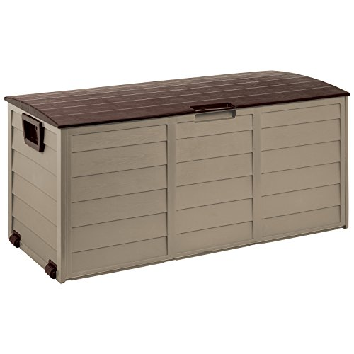 Outdoor Garden Plastic Storage Lockable Utility Tool Chest Cushion Shed Box 280L (Mocha/Brown)