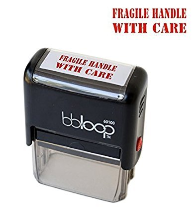 """BBloop Stamp""""Fragile Handle with Care"""" Self-Inking, Rectangular. Laser Engraved. RED"""