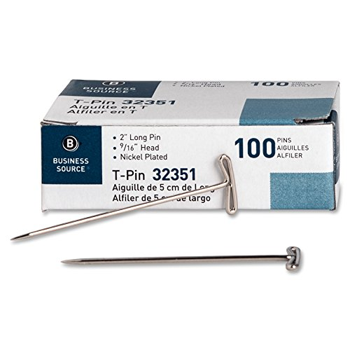Business Source 32351 T-Pins, 9/16 in. Head Width, 2 in. Length, 100/BX, Silver