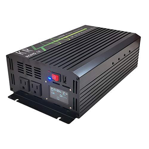 KRXNY Inversor de Corriente de 1000 W, Onda sinusoidal Pura de 24 V CC a 120 V CA 60 Hz con Pantalla LCD USB para Coche/Apagado de Rejilla Solar