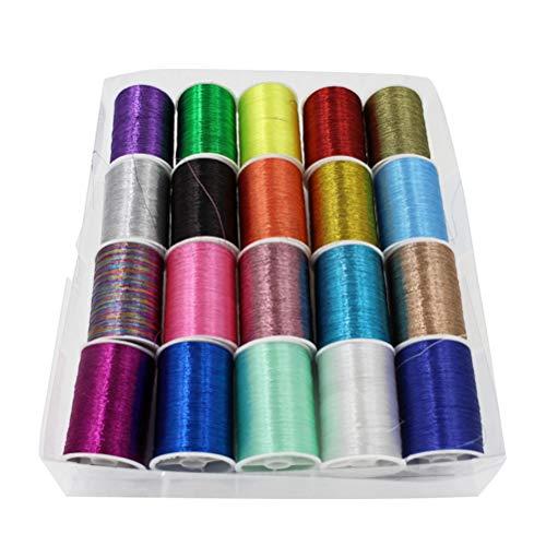 SUPVOX 20 Spulen Metallic Stickgarn DIY Manueller Nähgarn Set (Multicolor)