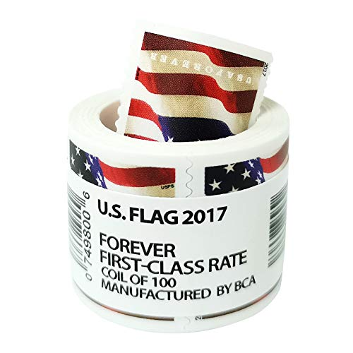 Roll of 100 Flag Postage, US Flag Stamps Business Envelope Matching 2017 Forever Postage Stamps (100 Stamp Coil)