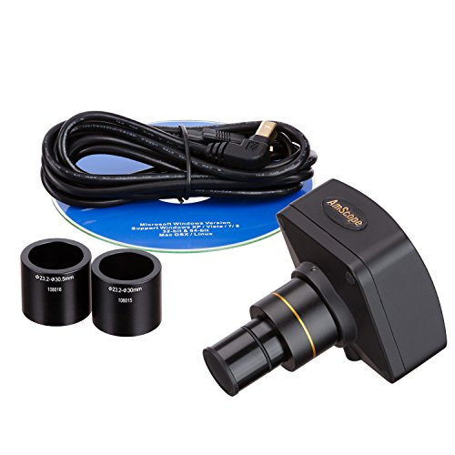 AmScope MU1400 14MP Digital Microscope Camera for Still and Video Images, 40x Magnification, 0.5x Reduction Lens, Eye Tube or C-Mount, USB 2.0 Output, Includes Software