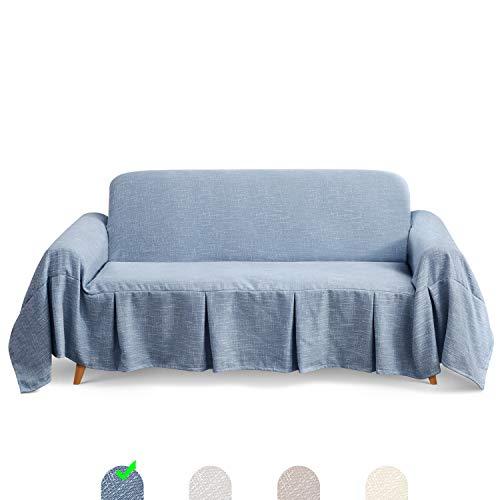 TAOCOCO Funda de sofá, Funda de Silla de Sala, Funda de Silla de Perro, Funda de protección de Silla, Lavable a máquina,Toalla de sofá con Volantes (Azul, 320_x_210_cm)