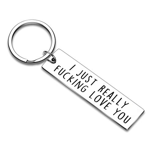 Couple Key Chain Gifts for Him Her-Husband for Girlfriend Boyfriend Wife Keychain Gifts for Anniversary Birthday Wedding Gifts from Wifey Hubby Valentine Day Gifts-I Just Really Love You