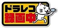 Isaac Trading ドライブレコーダー録画中 ステッカー 猫イラスト シール ドラレコ 耐水・耐候 148x67mm (イエロー)