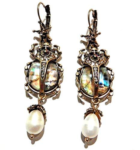 Abalone Shell Scarab Beetle Earrings Egyptian revival human skull insect crystal rhinestone bugs