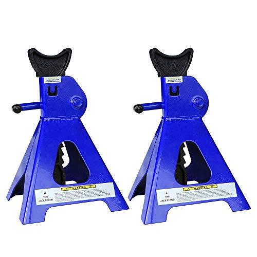 Melko Unterstellböcke 4X für Kfz, Auto, Transporter, Wohnmobil, 3t Tragkraft aus Gusseisen, 9 stufig höhenverstellbar, 28 – 41 cm, blau schwarz