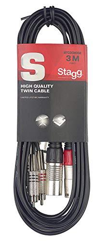 Stagg STC3CMXM - Cable RCA a XLR (macho, 3 m)