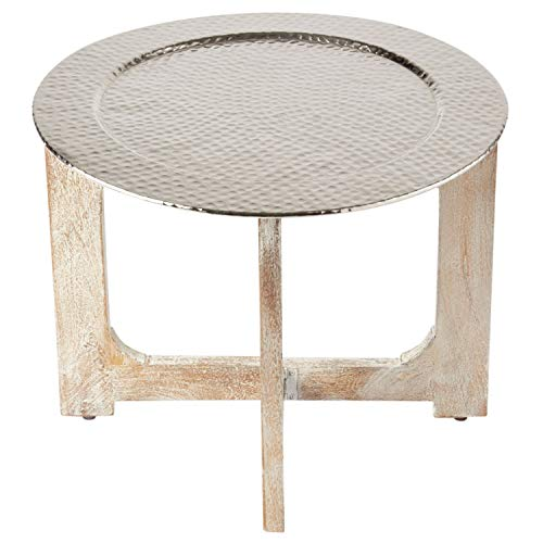 Wohnzimmertisch Couchtisch rund modern aus Metall und Holz ø 60cm   Marokkanischer runder Vintage Tisch Klapptisch klappbar   Moderner Design Runder Sofatisch mit Tablett in Silber Hochglanz