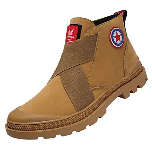 KUIBU Men's Round Toe Slipon Front Elastic Non-Slip Short Hiking Combat Outdoor Martin Boots Casual Shoes Brown
