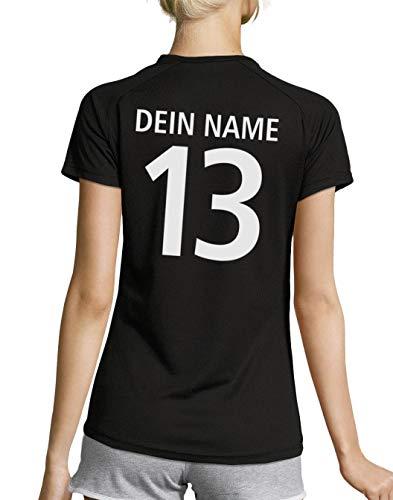 Roughtex Deutschland Trikot Damen EM WM T Shirt mit eigenem Namen Funktionsshirt Fan Shirts Frauen schwarz M