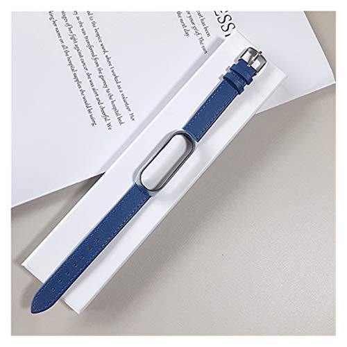 Liberación rápida Pulsera de Cuero for Xiaomi MI Band 3/4/5 Elegante Correa Reloj muñeca Correa for Xiaomi MI Banda 3 4 Pulsera MIBAND 5 4 3 Strap Correa de Hombre (Color : Blue, Size : For mi3mi4)