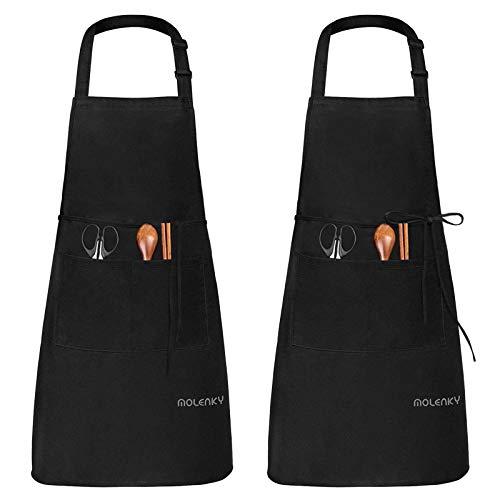 MOLENKY Delantal de Cocina de Poliéster(2 Piezas), con Tira de Cuello Ajustable y 2 Bolsillos, Delantal Chefs Cocina para Cocinar/Hornear (Negro)