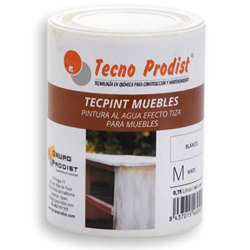 TECPINT MUEBLES de Tecno Prodist - 750 ml (Blanco Roto) Pintura al agua efecto TIZA - Ideal para pintar Muebles - Calidad Profesional