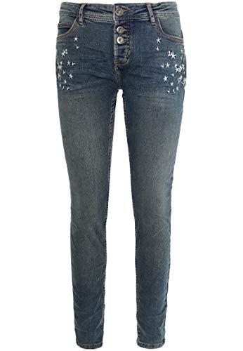 Urban Surface Damen Skinny Jeans mit Stickerei im Used Look Dark-Blue S