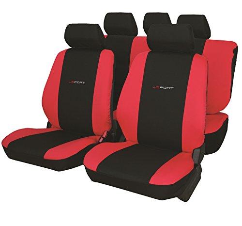 Carfactory - Juego de fundas para asientos de coche universales, modelo DAYTONA, color Rojo, 9 piezas.